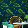 Papier Peint  JUNGLE - Bleu royal - 10m x 53 cm