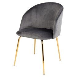 Chaise LALY Velvet & Gold - Grey