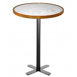 Table haute BISTRONOME White Marble & Gold