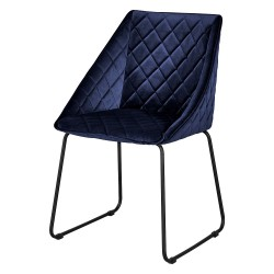 Chaise WES Velvet - Bleu de Minuit