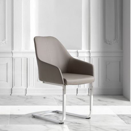 Fauteuil ORA Cuir - Taupe