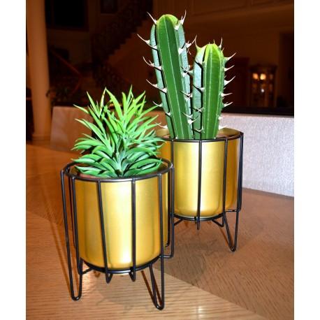 Duo de supports à plantes AJOU - Acier doré