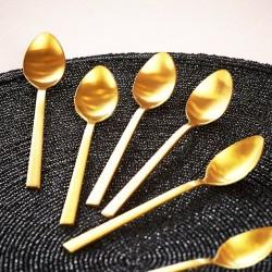 Ensemble 6 cuillères à dessert PURA - Inox doré
