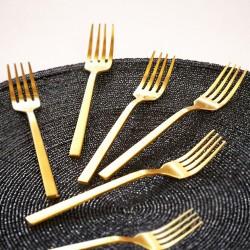 Ensemble 6 fourchettes à dessert PURA - Inox doré
