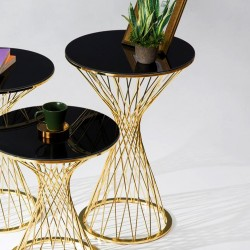 Table bout de canapé TWIST Black & Gold