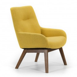 Fauteuil CATONA - Moutarde & Noyer