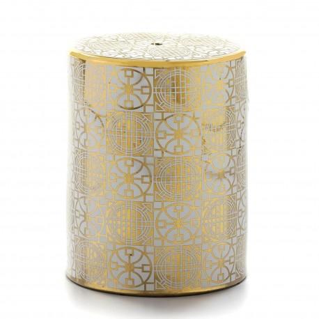 Tabouret HEISEY - Céramique White & Gold