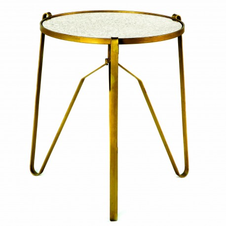 Table d'appoint SIJYL - Miroir vieilli & Or
