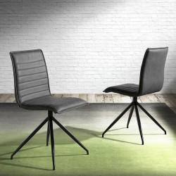 Chaise NOOR - Cuir anthracite piqué