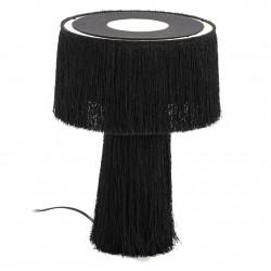 Lampe à poser TELLA - Toile & pampilles noires