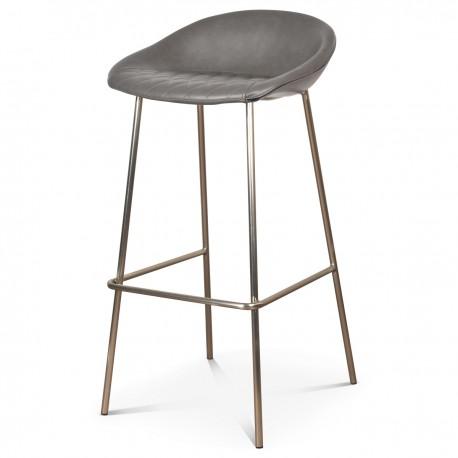Chaise haute CHANCE - Gris perle & acier satiné