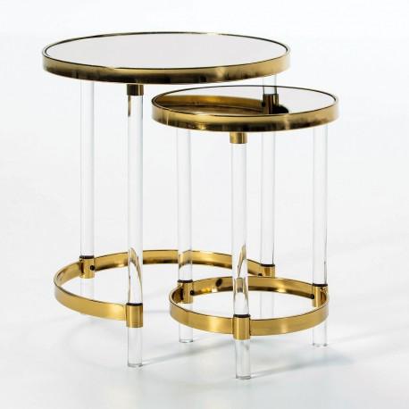 Duo de tables CLARITY - Acrylique & Laiton doré