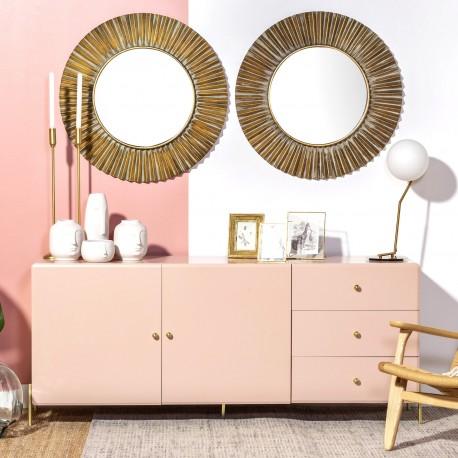 Buffet LAYAN - Pink pastel & Laiton doré