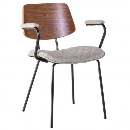 Chaise PERFY à accoudoirs - Toile damier & bois de Noyer