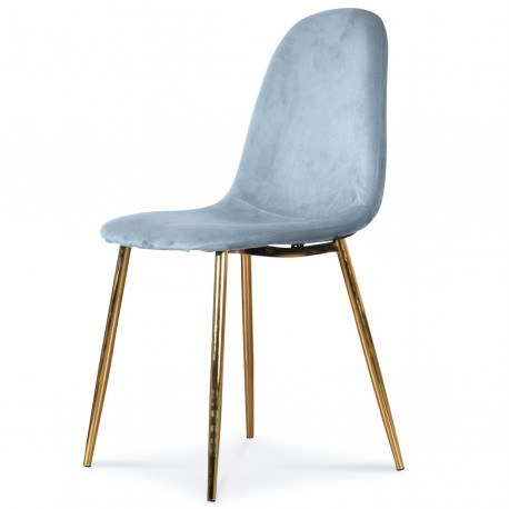 Chaise BAYAN - Pastel blue & Gold