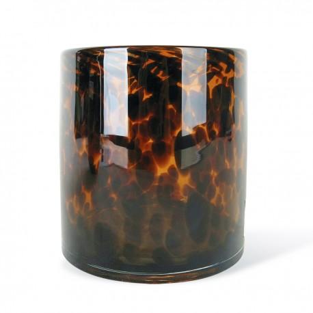 Vase TUBE Medium en verre soufflé - Ambre Léopard