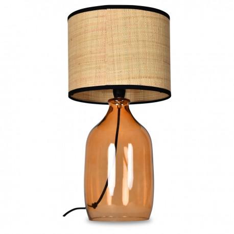 Lampe à poser AYLA - Verre ambré & Raphia naturel