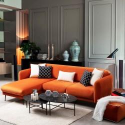 Canapé d'angle ELYANE - Orange Tangerine