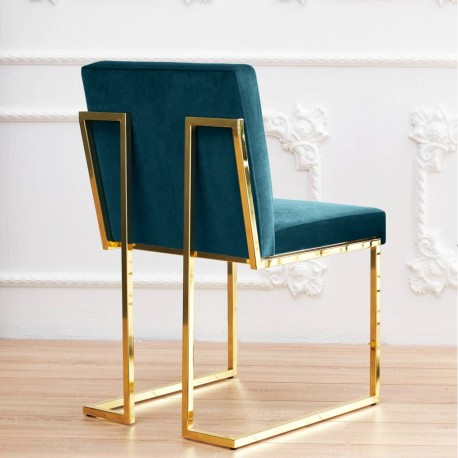 Fauteuil QUEEN - Prussian blue & Gold