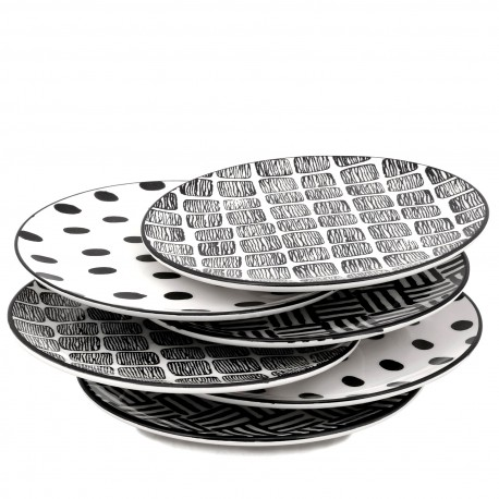 Set de 6 Assiettes porcelaine Black & White - 21 cm - 3 motifs