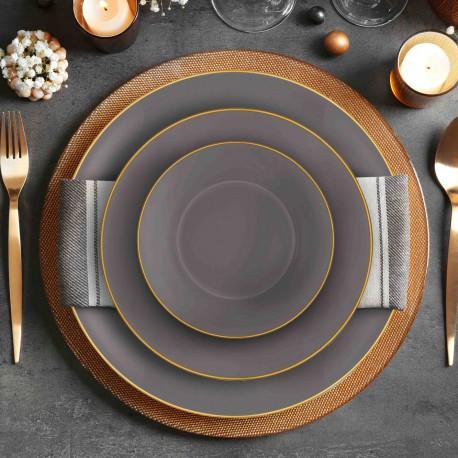 Service de table 24 pièces - MUST - Gris & Or