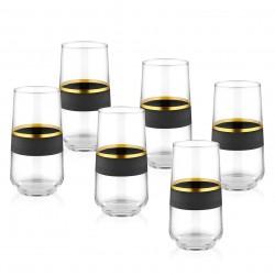 Coffret de 6 verres hauts - CURVE BLACK ORO