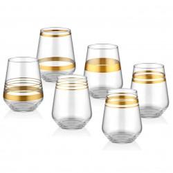 Coffret de 6 verres moyen - CURVE LINE ORO