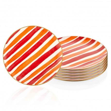 Set de 6 assiettes 26cm - ARCORIS - Nuances Corail