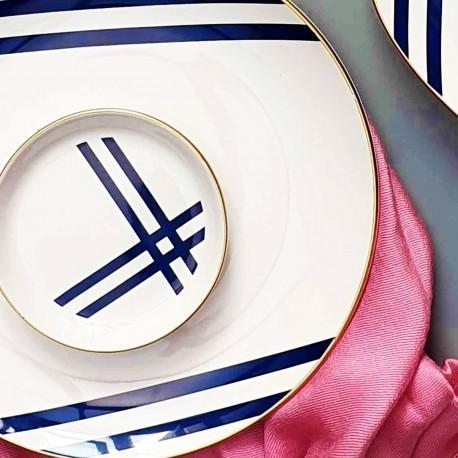 Set de 6 assiettes 10cm - VICTORY - Blanc & Bleu
