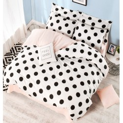 Parure de lit DOTS Black, White & Blush - 2 places - 220x240cm