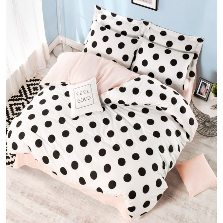 Parure de lit DOTS Black, White & Blush - 2 places - 220x240cm