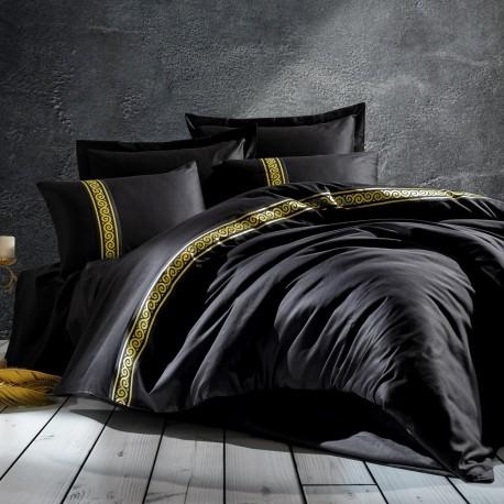 Parure de lit satin de coton PALACIO Black & Gold - 2 places - 240x260cm