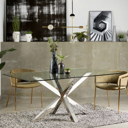 Table à manger PERLAS - Inox poli