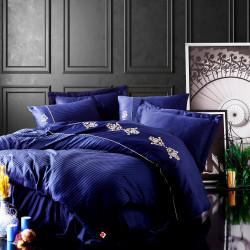 Parure de lit satin de coton PALAZI Blue & Gold - 2 places - 240x260cm
