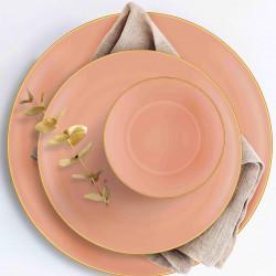 Service de table 24 pièces - MUST - Pastel Corail & Or