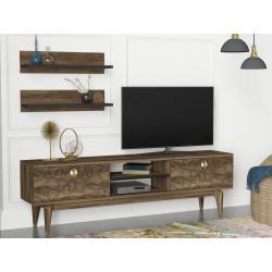 Ensemble meuble télé & étagères - FINK Noyer & Or