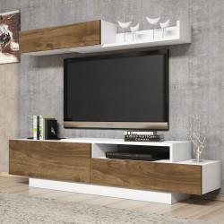 Ensemble meuble télé & étagères - ARUBA White & Accacia