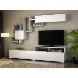 Ensemble meuble télé & étagères - ENORA - Pure White