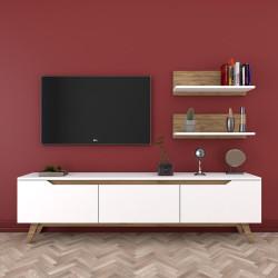 Ensemble meuble télé & étagères - KINAZ - Pure White & Noyer