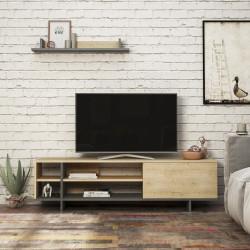 Meuble télé AURA - Chêne & Anthracite