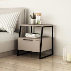 Table de chevet SHANY - Blanc ou Taupe