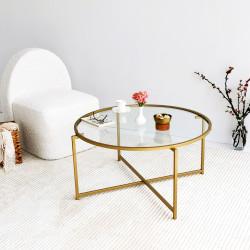 Table basse ronde - GIULIA Gold - Verre fumé ou clair