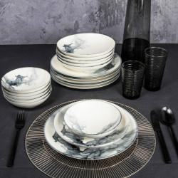 Service de table 24 pièces - MUST - Blanc & Or