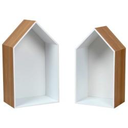 Duo d'étagères TITA Chêne / Blanc