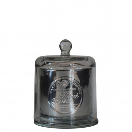 BOUGIE ARTISANALE Cloche verre soufflé - Black Rose 240g