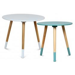 Duo de tables AZA BLANC-TURQUOISE