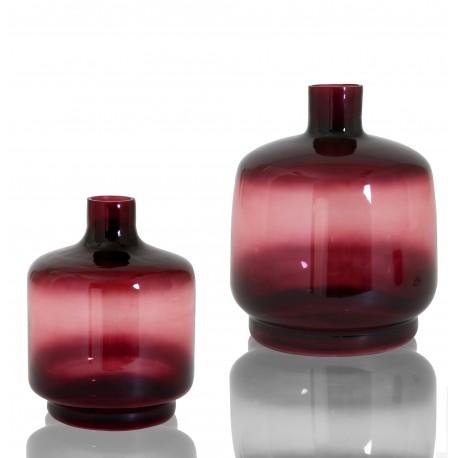 Duo de Vases OBY en verre soufflé Aubergine