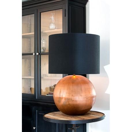 Lampe à poser BUBBLE - Cuivre & Toile de coton rosée de nuit