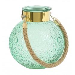 Photophore / Vase BUBBLY - verre soufflé & gravé Light Green & Gold