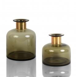 DUO de Vases SIVY en verre soufflé Brun et à col en Laiton - LARGO